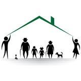 Icône de famille de silhouette de personnes de protection. Photos stock