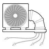 Icône de fan et de tuyau de système, style d'ensemble Photographie stock