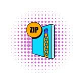 Icône de fichier zip dans le style de bandes dessinées Photographie stock libre de droits