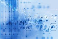 Icône de Fintech sur le fond financier abstrait de technologie Photo libre de droits