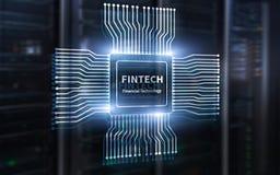 Ic?ne de Fintech sur le fond financier abstrait de technologie Ic?ne d'unit? centrale de traitement sur le fond brouill? par cent