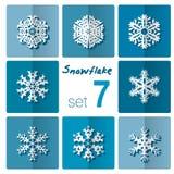 Icône de flocon de neige Thème de l'hiver Flocons de neige d'hiver de différentes formes Photos stock