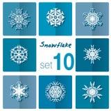 Icône de flocon de neige Thème de l'hiver Flocons de neige d'hiver de différentes formes Images stock