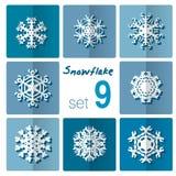 Icône de flocon de neige Thème de l'hiver Flocons de neige d'hiver de différentes formes Image stock