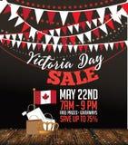Icône de fond de carte de vente de Victoria Day avec le drapeau et la couronne de Canada Photographie stock