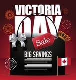 Icône de fond de carte de vente de Victoria Day avec le drapeau et la couronne de Canada Image stock