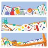 Icône de fournitures scolaires mélangée pour la décoration de papier Image stock