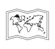 Icône de géographie de papier de carte du monde illustration stock