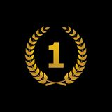 Icône de gagnant de silhouette de vecteur d'or avec le nombre Image stock