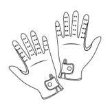 Icône de gants du jockey s dans le style d'ensemble d'isolement sur le fond blanc Vecteur d'actions de symbole d'hippodrome et de Photographie stock