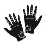 Icône de gants du jockey s dans le style noir d'isolement sur le fond blanc Illustration de vecteur d'actions de symbole d'hippod Photo stock