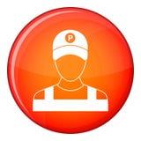 Icône de gardien de parking, style plat Image stock