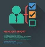 Icône de gestion des projets, icône de rapport de point culminant Photographie stock libre de droits