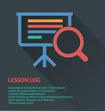 Icône de gestion des projets, icône de rondin de leçon Images stock