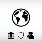 Icône de globe, illustration de vecteur Style plat de conception Image stock