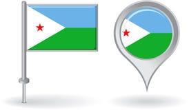 Icône de goupille de Djibouti et drapeau d'indicateur de carte Vecteur Image libre de droits