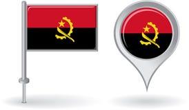 Icône de goupille et drapeau angolais d'indicateur de carte Vecteur Images stock