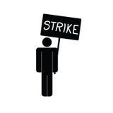 Icône de grève avec le vecteur de l'homme Photographie stock