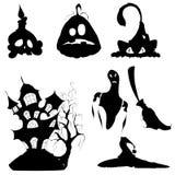 Icône de Halloween réglée sur le fond blanc Images stock