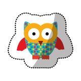 icône de hibou de timbre de couleur Image libre de droits