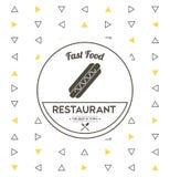 Icône de hot-dog Conception de nourriture et de menu Dessin de vecteur Photographie stock