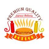 Icône de hot-dog, de ketchup et d'aliments de préparation rapide de moutarde Photos stock
