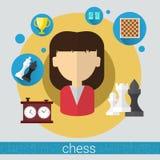 Icône de jeune femme de joueur de jeu d'échecs Images libres de droits