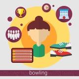 Icône de jeune fille de joueur de jeu de bowling illustration libre de droits