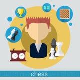Icône de jeune homme de joueur de jeu d'échecs illustration stock