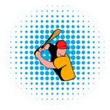 Icône de joueur de baseball, style de bandes dessinées Images stock