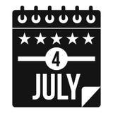 Icône de Jour de la Déclaration d'Indépendance, style simple Images stock