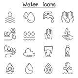 Icône de l'eau réglée dans la ligne style mince illustration stock