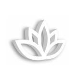 Icône de la fleur de Lotus 3d sur le fond blanc Bien-être, station thermale, yoga, beauté et thème sain de mode de vie Illustrati Image libre de droits