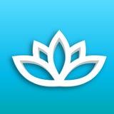 Icône de la fleur de Lotus 3d sur le fond bleu de gradient Bien-être, station thermale, yoga, beauté et thème sain de mode de vie Photographie stock