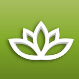 Icône de la fleur de Lotus 3d sur le fond vert de gradient Bien-être, station thermale, yoga, beauté et thème sain de mode de vie Photos stock