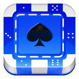Icône de la place APP de Chip Vector 3d de tisonnier de casino Photo libre de droits