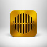Icône de la technologie APP avec la texture en métal d'or Images stock