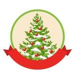 Icône de label d'hiver de Noël avec l'arbre d'arbre de décoration Images libres de droits