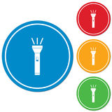 Icône de lampe-torche Torche portative Photographie stock