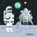 Icône de Landing Planet Lander d'astronaute de cosmonaute sur les étoiles élégantes de lune de la terre Photos stock