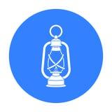 Icône de lanterne dans le style noir d'isolement sur le fond blanc Illustration de vecteur d'actions de symbole de mine illustration libre de droits