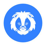 Icône de lion de cirque dans le style noir d'isolement sur le fond blanc Illustration de vecteur d'actions de symbole de cirque Photos libres de droits