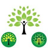 Icône de logo de vie humaine de vecteur abstrait d'arbre de personnes Photographie stock libre de droits