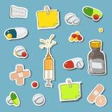 Icône de médecine réglée dans bleu-clair Photographie stock libre de droits