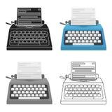 Icône de machine à écrire dans le style de bande dessinée d'isolement sur le fond blanc Films et illustration de vecteur d'action Images stock