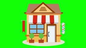 Icône de magasin de boutique avec rouge et le blanc barrée illustration stock
