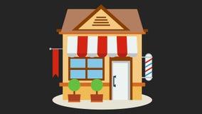Icône de magasin de boutique avec rouge et le blanc barrée illustration de vecteur