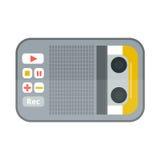 Icône de magnétophone ou de dictaphone d'isolement sur le matériel son audio de vecteur d'illustration de voix blanche de microph Photo libre de droits