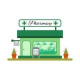 Icône de maison de pharmacie dans le style plat Vitrine de pharmacie - illustration de vecteur Photo stock