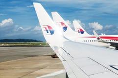 Icône de Malaysia Airlines sur des dérives et des ailerons Images libres de droits